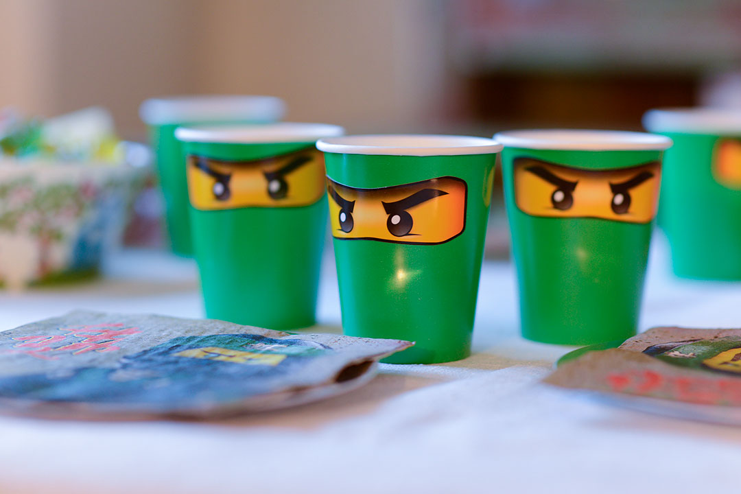 Party cups with Ninjago eye stickers