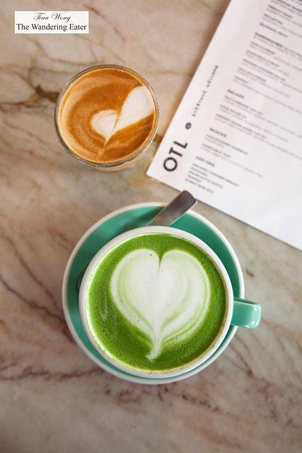 Matcha latte and Cortado