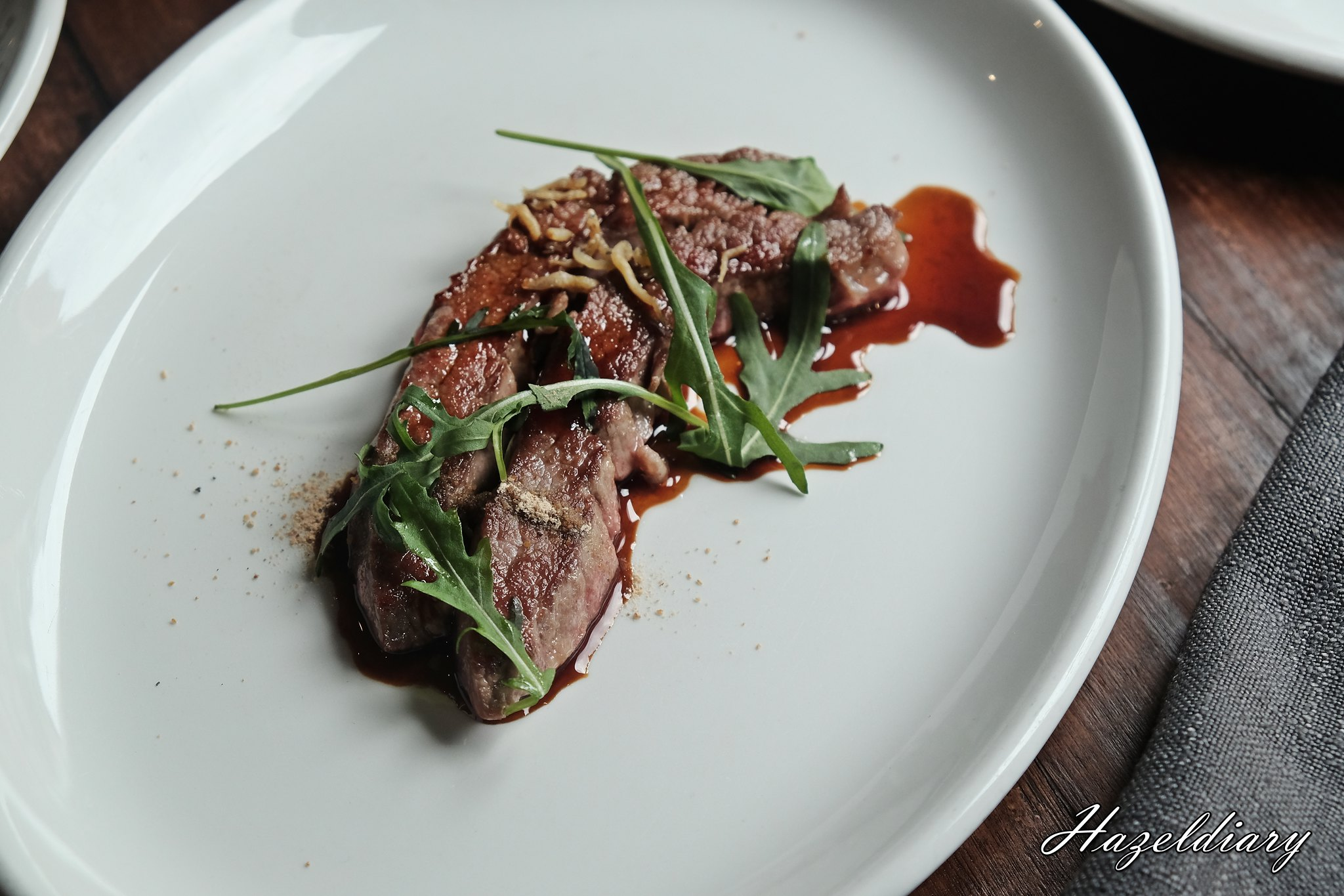 Audace-Pan Seared Flank Beef, Dry Anchovy