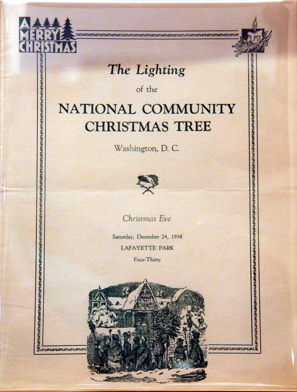 Program for the 1938 tree lighting ceremony, which marked the last time the National Christmas Tree ceremony was held in Lafayette Park