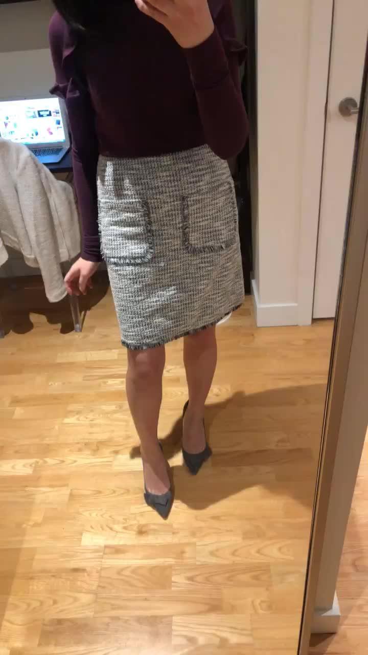 LOFT Fringe Tweed Pocket Shift Skirt, size XXS regular