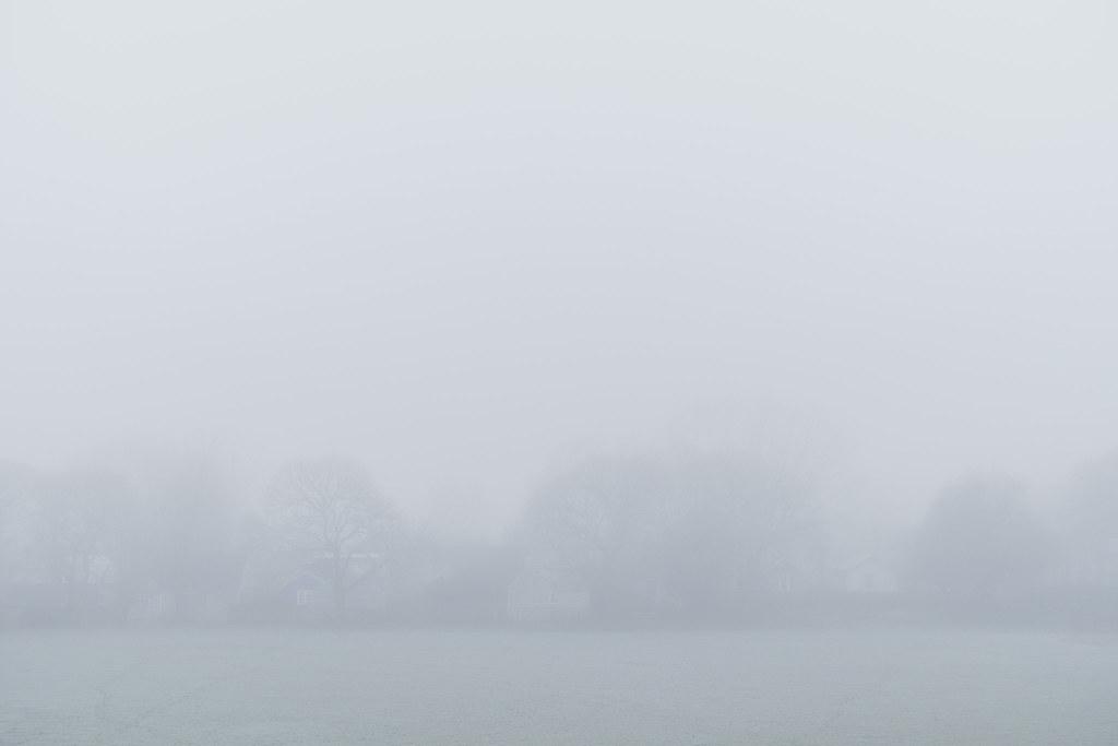 Fog obscures the Irvington neighborhood of Portland, Oregon