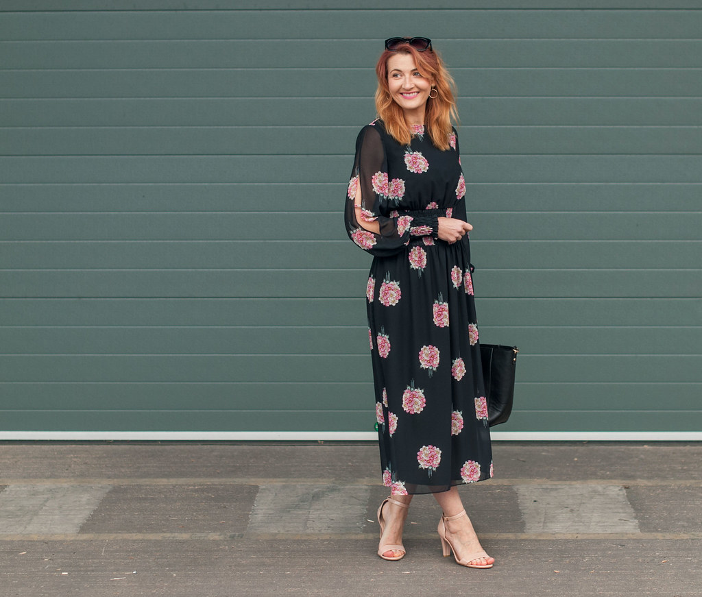 Date night outfit, evening look - Sheer dark floral shirred waist midi dress - | Not Dressed As Lamb, over 40 style