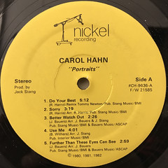 CAROL HAHN:PORTRAITS(LABEL SIDE-A)