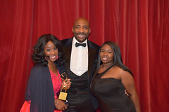 DSC_7071 Black British Entertainment Awards BBE Dec 2017 at Porchester Hall London by Jean Gasho Co Founder of BBE with Tina from Philadelphia and Johnny Nelson former boxer and Sky Sports Presenter