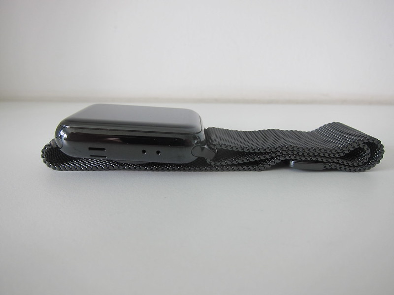 Apple Watch Series 3 Space Black Stainless Steel Case with Space Black Milanese Loop - Left