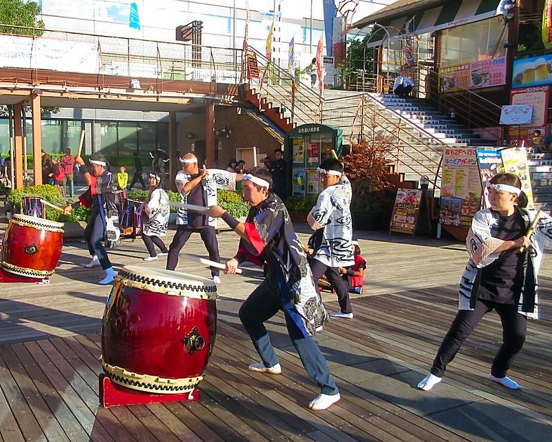 Nagasaki city harbour street drummers