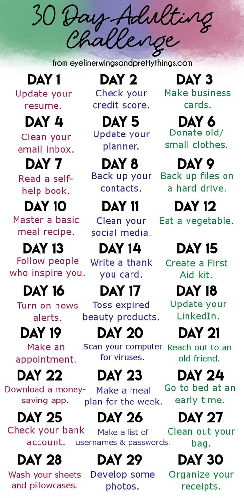 30 Day Adulting Challenge - adulting challenge - monthly challenge - 30 day challenge