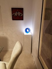 White Gloss Laminate Pedestal with Ambient Light