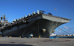 USS America (LHA 6) sits along the pier after arriving at Naval Base Guam, Jan. 7. (U.S. Navy/MM3 Julissa Granados)
