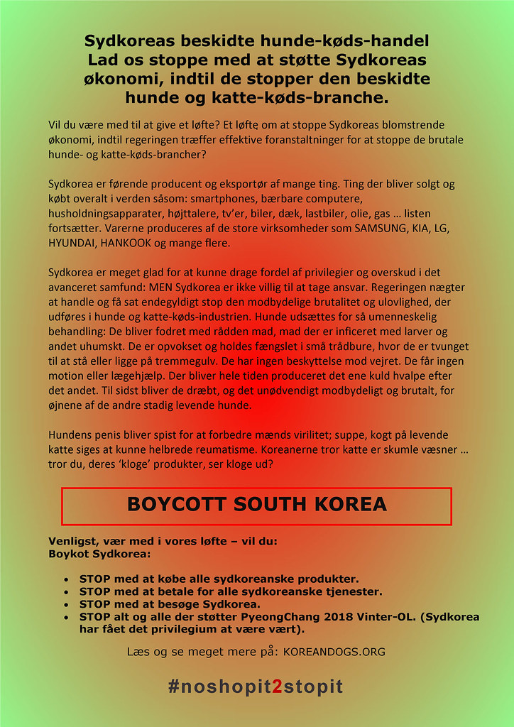 South Korea's filthy dog meat trade #noshopit2stopit in Danish