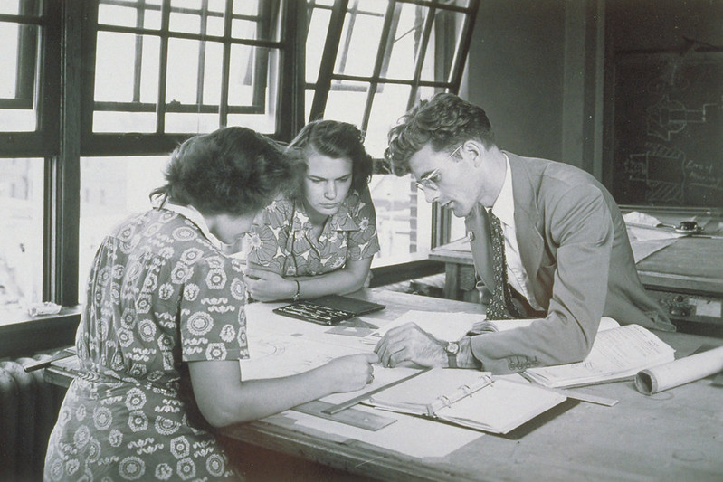 Drafting Students, Extension Center, University Of Connecticut