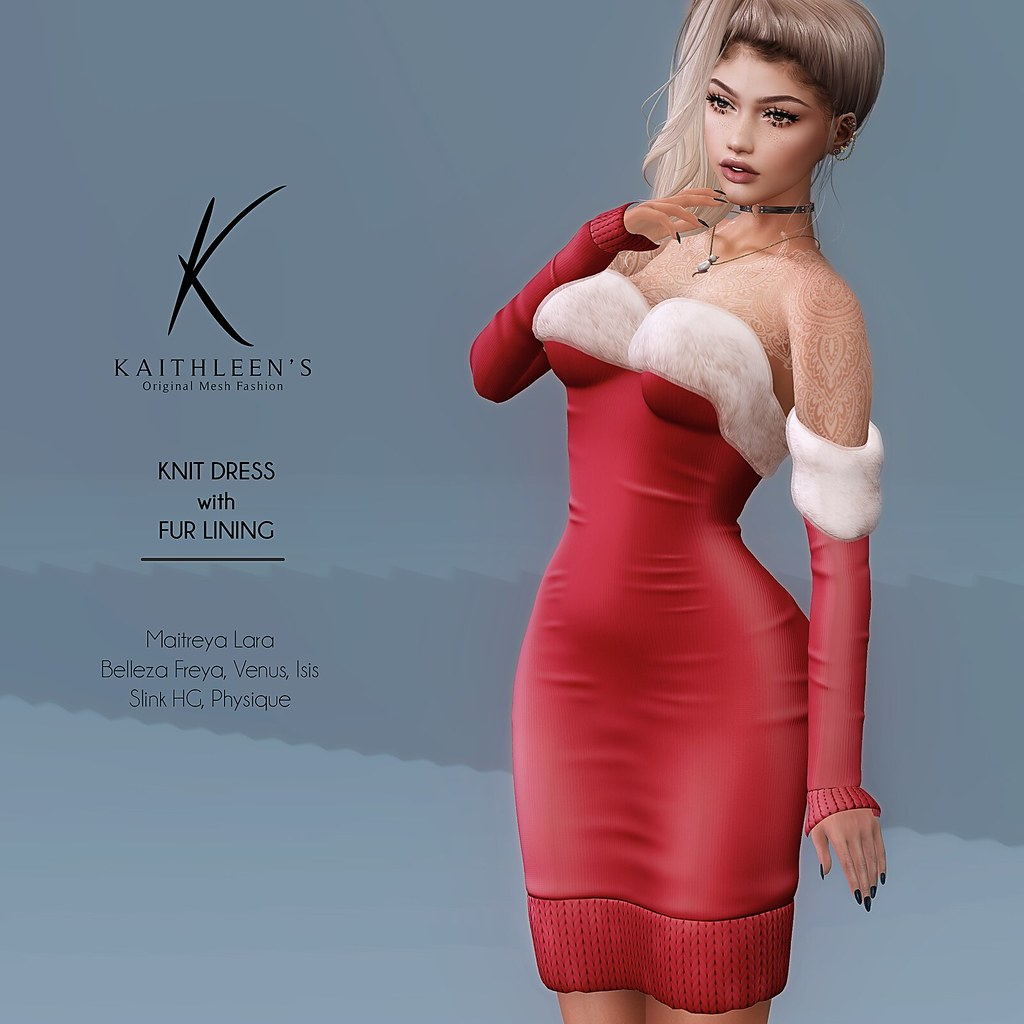 Kaithleen's Knit Dress with Fur Lining @ Shiny Shabby