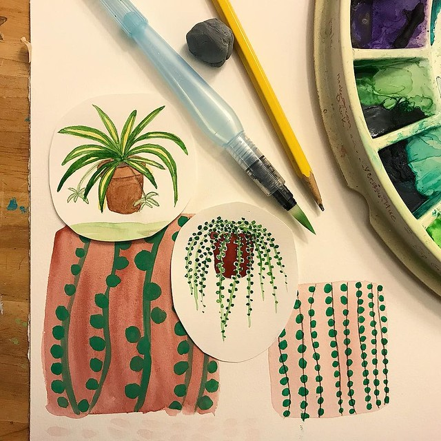 I don't know I dragged my heals so long on day 7 #patternjanuary #letsmakepatterns I want to make a bunch little watercolor illustrations of planted houseplants, but after I made the #stringofpearlsplant, I got distracted by the pattern the plant itself m
