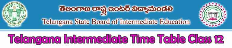 Telangana Intermediate Time Table 2018