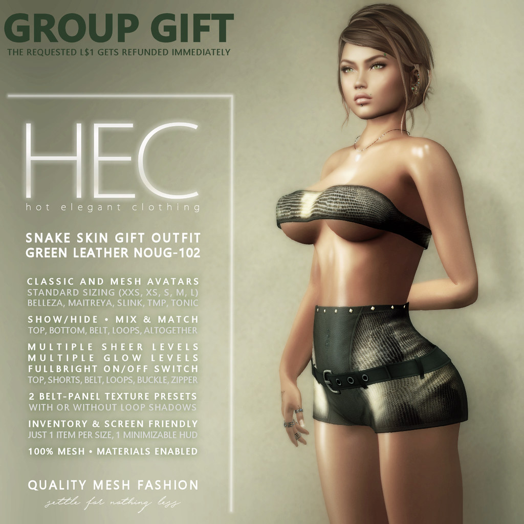 HEC (GROUP GIFT) • SNAKE SKIN GIFT GIFT OUTFIT GREEN LEATHER NOUG-102