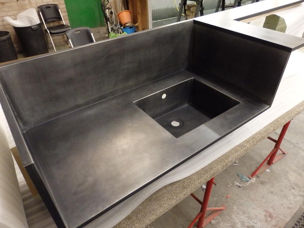 Zinc Counter Unit With Integral Zinc Sink
