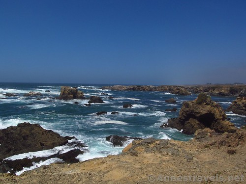 Views across sea stacks and waves from the Coastal Trail south of Glass Beach, California