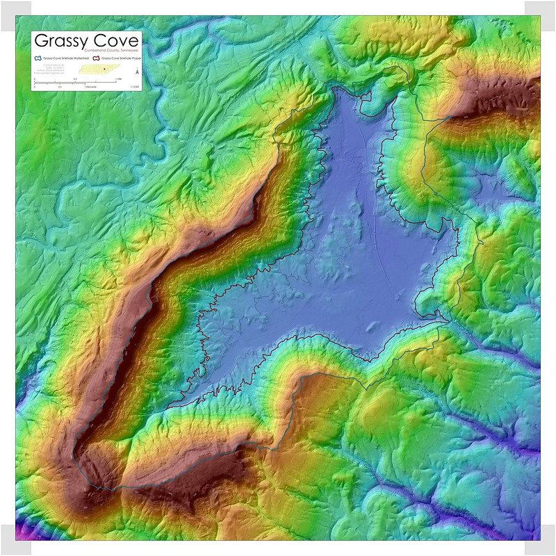 Map of Grassy Cove, Cumberland County, Tennessee