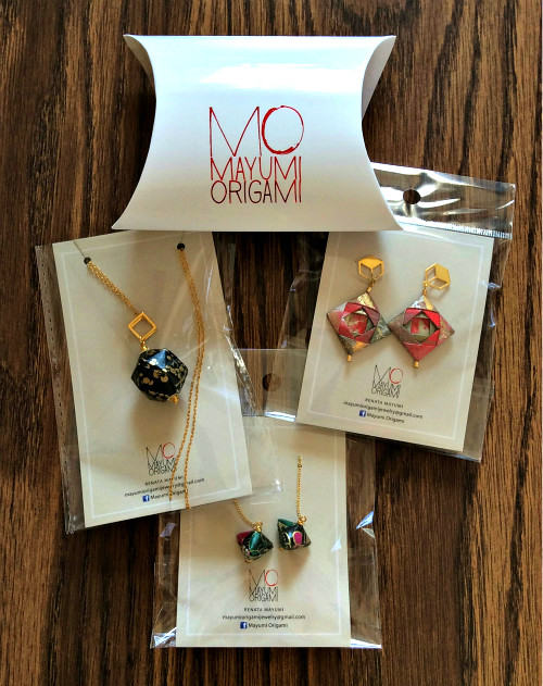 Origami Paper Earrings and Necklace by Mayumi Origami Jewelry