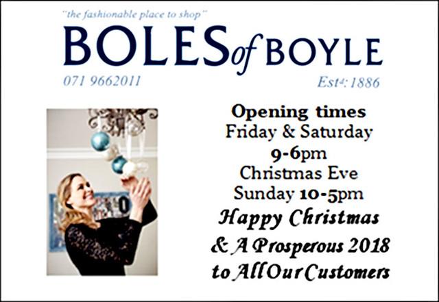 Boles of Boyle Christmas & New Year Greetings