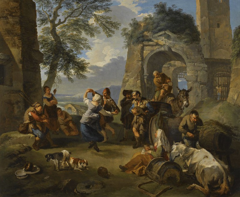 Andrea Locatelli - A landscape with peasants dancing and merrymaking