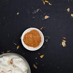 Sheep yogurt with saffron and coconut blossom sugar.