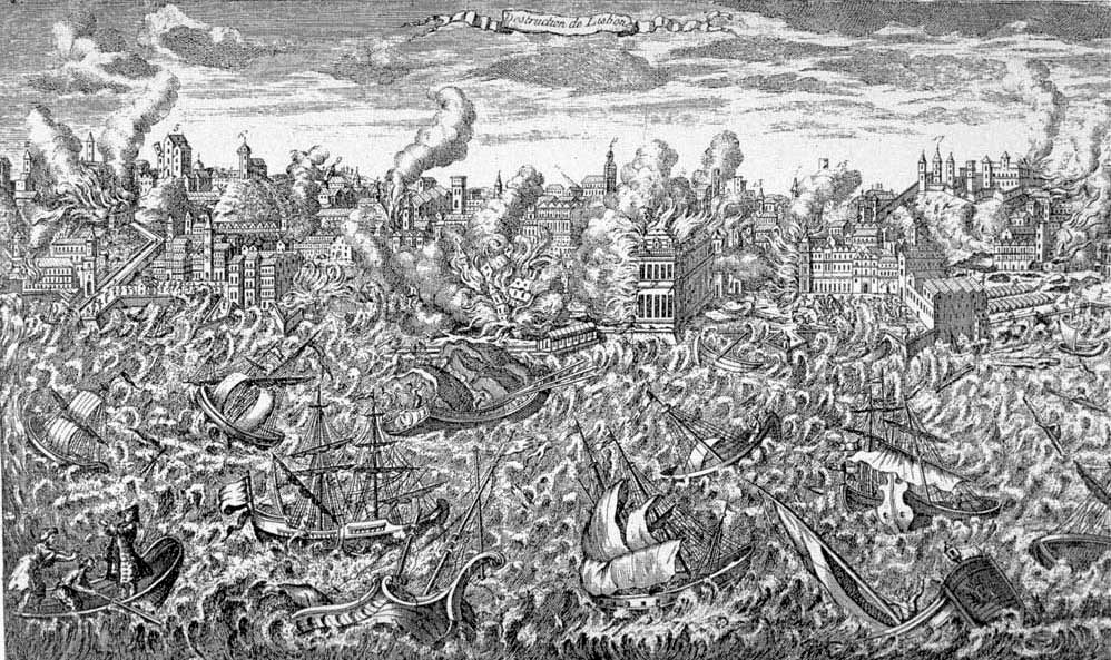 Lisbon, Portugal, during the great earthquake of 1 November 1755. This copper engraving, made that year, shows the city in ruins and in flames. Tsunamis rush upon the shore, destroying the wharfs. The engraving is also noteworthy in showing highly disturbed water in the harbor, which sank many ships. Passengers in the left foreground show signs of panic. Original in: Museu da Cidade, Lisbon. Reproduced in: O Terramoto de 1755, Testamunhos Britanicos = The Lisbon Earthquake of 1755, British Accounts. Lisbon: British Historical Society of Portugal, 1990.