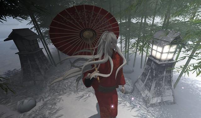 雪中散歩狐