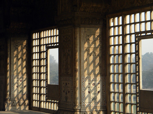 Marble lattice windows in the Red Fort in Delhi, India