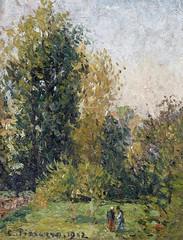 Paysage avec deux personnages, Eragny, automne (C Pissarro - PDRS 1470)