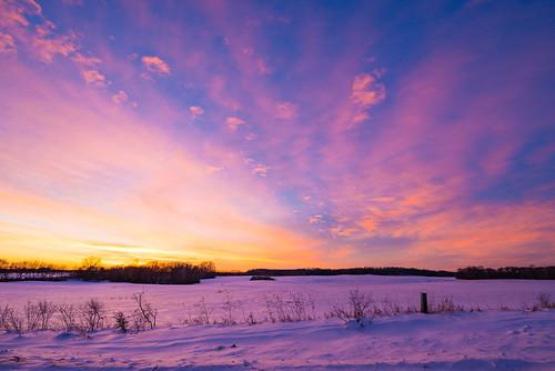 december newrichmond wisconsin orangesky pinksky purplesky sky snow sunset winter unitedstates us