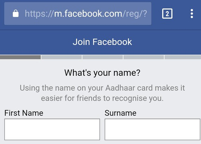 Aadhaar Card for Facebook Sign Up