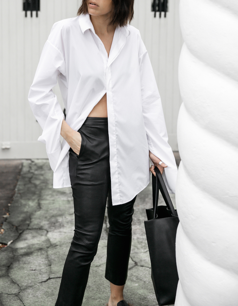 minimal monochrome fashion blogger bassike black leather pant givenchy logo tote stargate oversized white shirt blunt bob brunette Instagram (7 of 15)