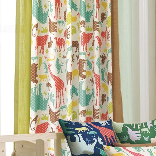 動物萬花筒 (獨家) 動物園 ZOO 長頸鹿 大象 豹 猴子 防光(遮光)窗簾布 DA1990032