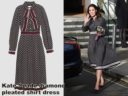 Kate Spade dress, Kate Middleton in a Kate Spade dress, Kate Middleton pregnancy style, Kate Middleton maternity style, pregnancy style, Maternity fashion, maternity style, pregnancy style, bump fashion, bump style, how to dress your bumpKate-Spade-diamond-pleated-shirt-dress
