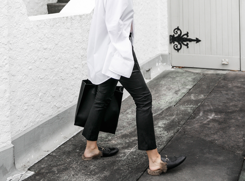 minimal monochrome fashion blogger bassike black leather pant givenchy logo tote stargate oversized white shirt blunt bob brunette Instagram (6 of 15)