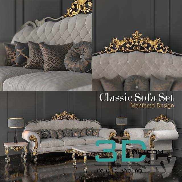 Fine 411 Classic Sofa Set 3D Mili Download 3D Model Free Inzonedesignstudio Interior Chair Design Inzonedesignstudiocom