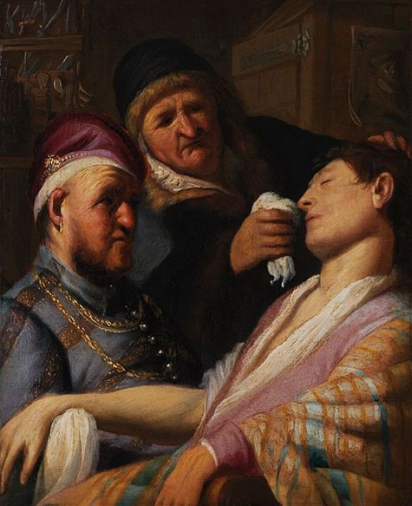 RembrandtHarmenszVanRijnTheUnconsciousPatientAnAllegoryOfTheSenseOfSmellAbout1624OilOnPanel