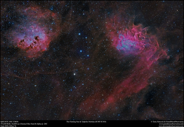 Flaming Star & Tadpoles Nebulae (IC405 & IC410)