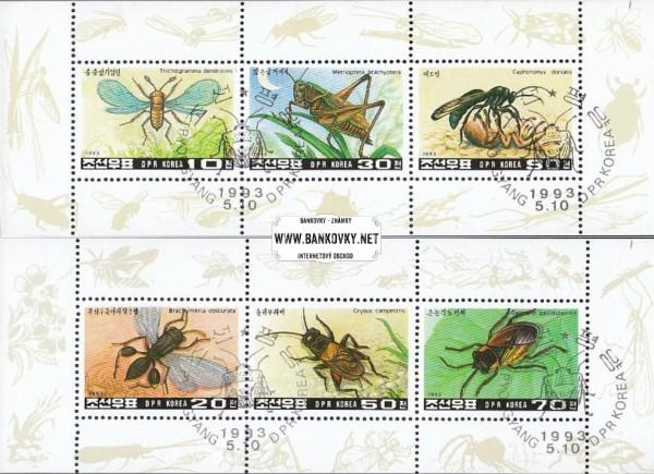 Známky Severná Kórea 1993 Hmyz, 2 razené hárčeky