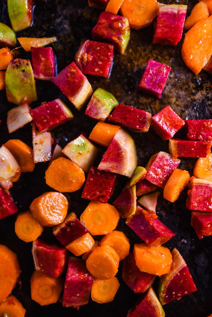 Spicy Roasted Beauty Heart Radishes and Carrots with Tahini | Things I Made Today