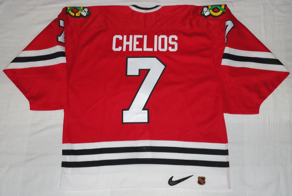 1996-97 Chris Chelios Chicago Blackhawks Away Jersey Back