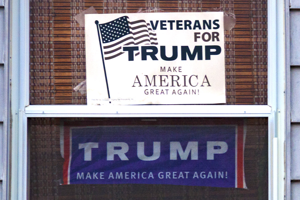 House with Trump signs in second floor windows--Passyunk Square (detail)