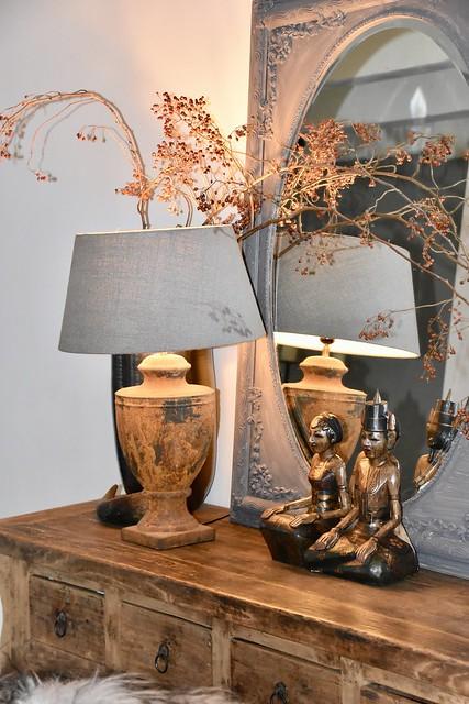 Sidetable spiegel lamp landelijke stijl