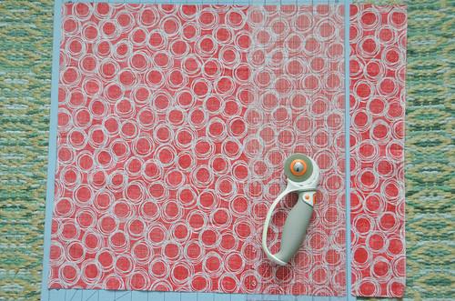 Cut fabric into a square.