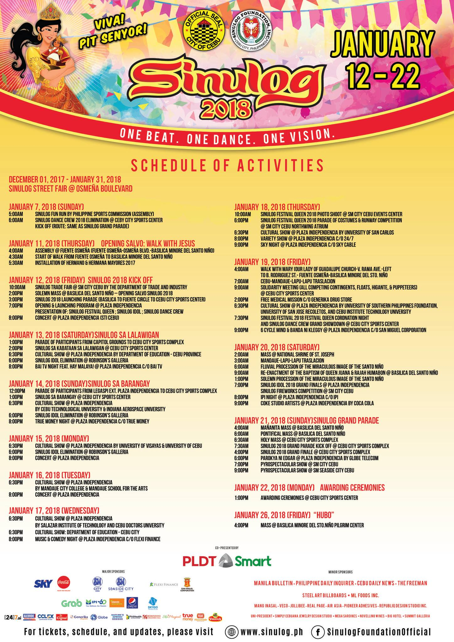 Sinulog Schedule of Activities