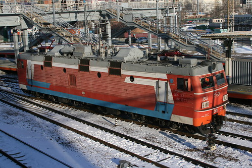 Russian Railways ЭП1 series in Vladivostok.Sta, Vladivostok, Primorsky Krai, Russia /Jan 3, 2018