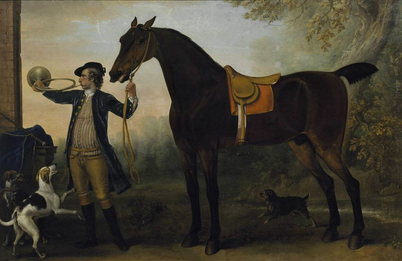 John Wootton - Horse with Huntsman Blowing a Horn (1732)