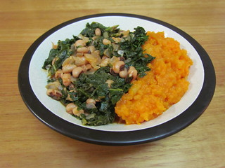 Hottie Black-Eyed Peas & Greens; Ginger Mashed Sweet Potatoes & Apples